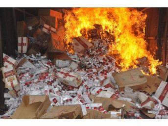 Kırıkkale'de 450 Bin Paket Kaçak Sigara Imha Edildi