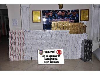 Yıldızeli'nde 10 Bin Paket Kaçak Sigara Ele Geçirildi