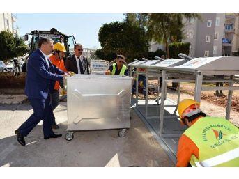 Başkan Uysal, Yer Altı Çöp Konteynırı Çalışmalarını İnceledi