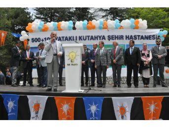 Kütahya'ya Helikopterle Gelen Müezzinoğlu, Ak Parti Amblemli Kürsüde Konuşma Yaptı