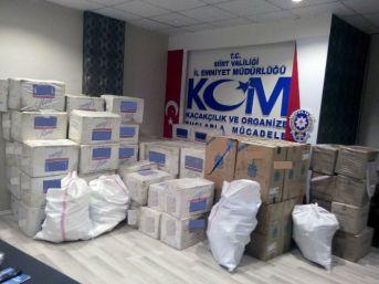 Siirt'te 10 Ayda 380 Bin 440 Paket Kaçak Sigara Ele Geçirildi