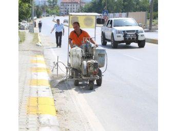 Sapanca'da Kaldırım Bordürleri Boyanıyor