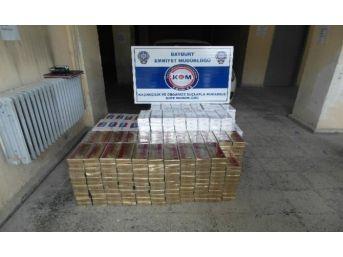 Bayburt'ta 6 Bin 500 Paket Kaçak Sigara Ele Geçirildi