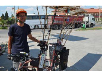 Güneş Enerjili Bisikletiyle Fransa'dan Geldi