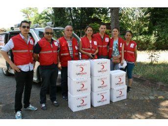 Heyelan Mağdurlarına Kızılaydan Gıda Yardımı