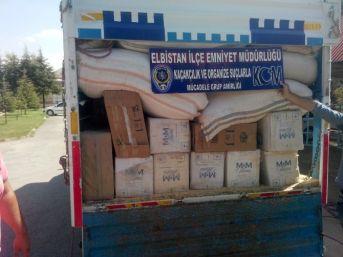 Saman Yüklü Kamyonda 70 Bin Paket Kaçak Sigara Ele Geçirildi
