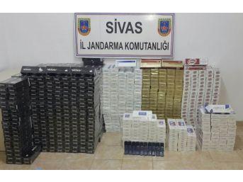 Gürün'de Bin 100 Paket Kaçak Sigara Ele Geçirildi