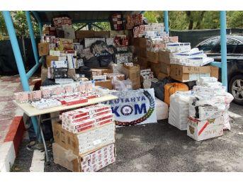 Kütahya Kom Ekipleri 86 Bin Paket Gümrük Kaçağı Sigara Ele Geçirdi