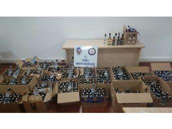 Denizli'de 570 Şişe Kaçak İçki Ele Geçirildi