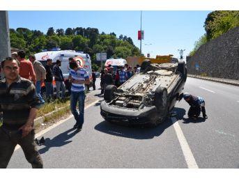 Alaplı'da Araç Takla Attı: 2 Yaralı
