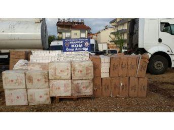 Asfalt Zift Tankerinde 79 Bin 350 Paket Sigara Ele Geçirildi