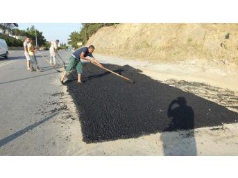 Burhaniye'de Baski'den Yol Onarımı