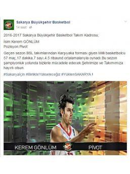 Sakarya Büyükşehir Basketbol, Kerem Gönlüm'le Anlaştı