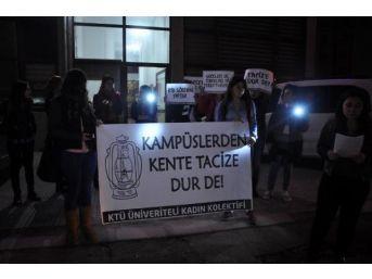 Karanlık Yurt Yollarına Kız Öğrencilerden El Fenerli Tepki