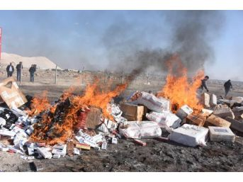 Aksaray'da 300 Bin Paket Kaçak Sigara Imha Edildi