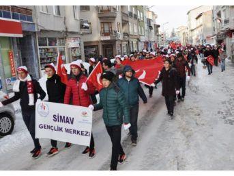 Simav'da Sarıkamış Şehitleri İçin Yürüyüş Yapıldı
