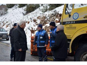 Başkan Gürün Karla Mücadele Çalışmalarını Yerinde İnceledi
