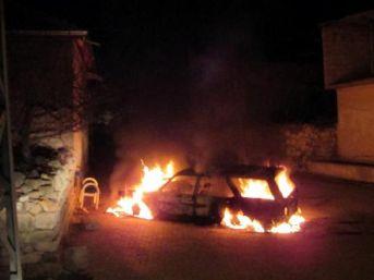 Kayseri'de Park Halindeki Otomobil Yandı