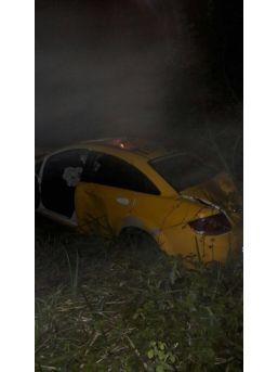 Ticari Taksi Ormanlık Alana Uçtu : 1 Yaralı