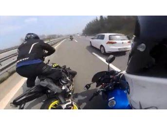 Motosikletçilerin Yaptığı Kaza Kamerada