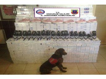 Horasan'da 54 Bin Paket Kaçak Sigara İle 100 Çift Spor Ayakkabısı Ele Geçirildi
