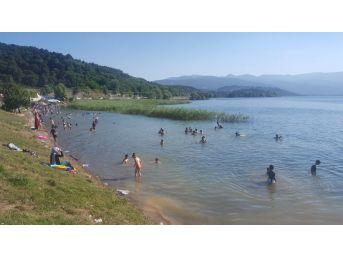 Sapanca Gölü'nde Tehlikeye Aldırış Etmeden Yüzüyorlar