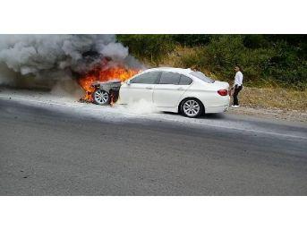 Yangın Tüpleri Yetersiz Kalınca Lüks Otomobil Alev Alev Yandı