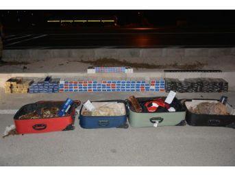 Otobüs Yolcusunun Bavullarından Kaçak Sigara Çıktı