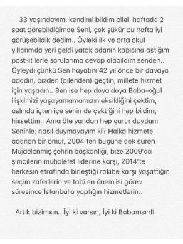 Kadir Topbaş'ın Oğlu Mustafa Ömer Topbaş: Artık Bizimsin. İyi Ki Varsın, Iyi Ki Babamsın