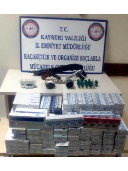 Kayseri'de Uyuşturucu Ve Kaçak Sigara Operasyonunda Silah Da Ele Geçirildi