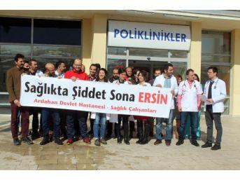 Ardahan'da Doktora Saldırıya Protesto