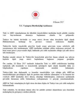 """Türkiye'nin Abd Büyükelçiliği: """"yargı Süreci Devam Eden Dosyalarla İlgili Olarak Hükümetimizin Herhangi Bir Güvence Vermesi Söz Konusu Değildir"""""""