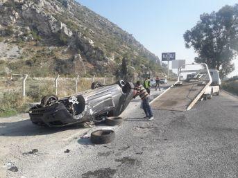 Söke'de Otomobil Yan Yola Uçtu: 1 Yaralı