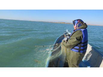 Göl Sularına Ağ Atan Kadın Balıkçılara Can Yeleği Ve Yağmurluk Dağıtılıyor