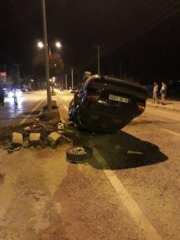 Takla Atıp Sürüklenen Otomobilden Yaralı Kurtuldu