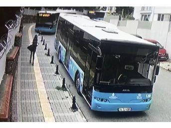 (özel Haber) Ümraniye'de Halk Otobüsü Okulun Bariyerlerinde Asılı Kaldı