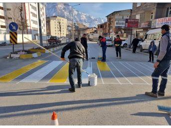 Hakkari Belediyesi Yol Çizgi Uygulaması Başlattı