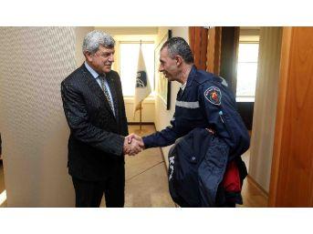 Filisti İtfaiyecilerden Başkan Karaosmanoğlu'na Ziyaret