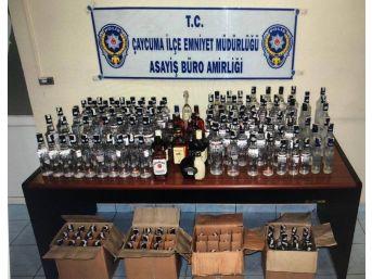 Zonguldak'ta 129 Şişe Sahte İçki Ele Geçirildi
