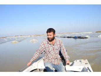 Sulara Gömülen Sera Altındaki Ürünlerine Tekne İle Ulaşabildiler