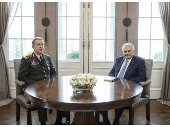 Başbakan Yıldırım, Genelkurmay Başkanı Akar Ve Mit Müsteşarı Fidan'ı Kabul Etti