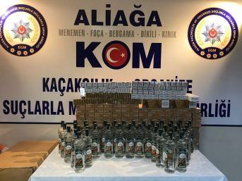İzmir'de Kaçak Sigara Ve İçki Operasyonu