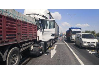 Tır Önündeki Tırın Dorsesine Çarptı, Sürücü Yaralandı