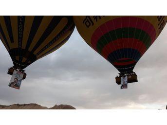 Kapadokya'da Balonlar 'vakit Kapadokya Vakti' Pankartlarıyla Havalandı