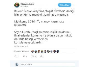 Chp'li Tezcan'a Cumhurbaşkanı Erdoğan'a Hakaretten 30 Bin Tl'lik Ceza