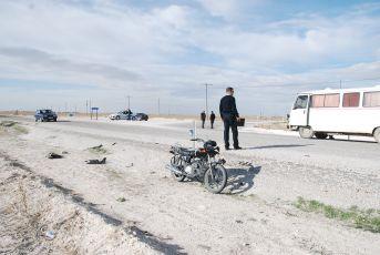 Motosiklet kazasında 2 kişi yaralandı.